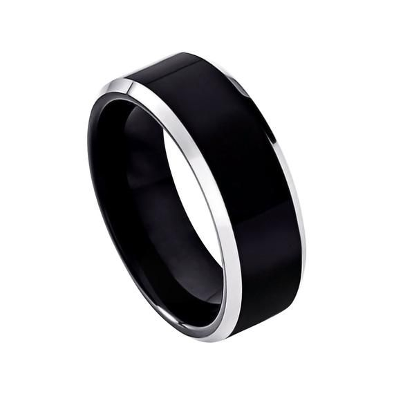 Mens Wedding Band Black Cobalt Ring 8mm Engagement Band Shiny Etsy In 2020 Black Wedding Band Mens Wedding Bands Black Mens Cobalt Wedding Bands