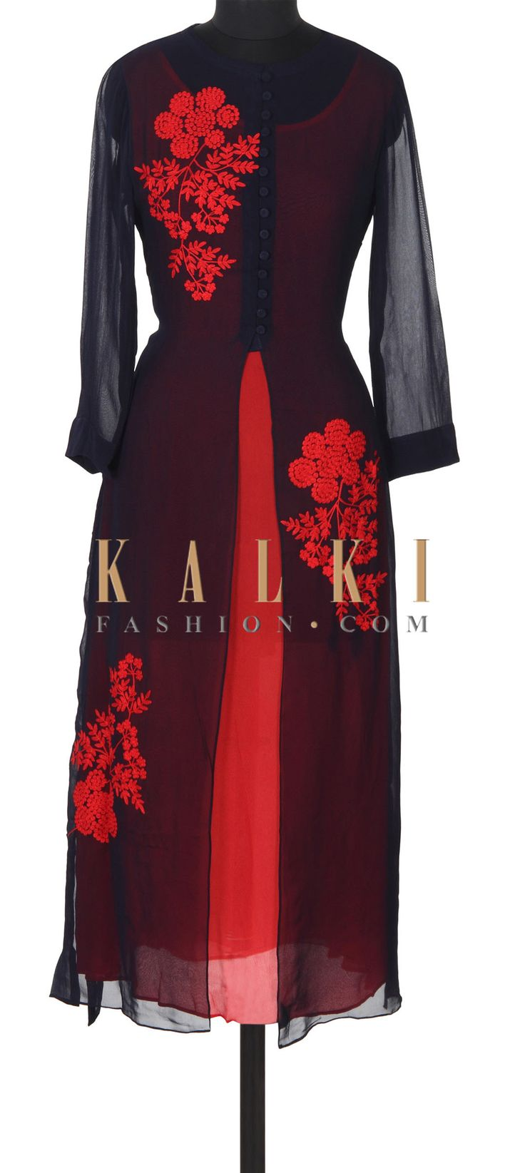 Buy this Navy blue kurti adorn in coral resham embroidery only on Kalki