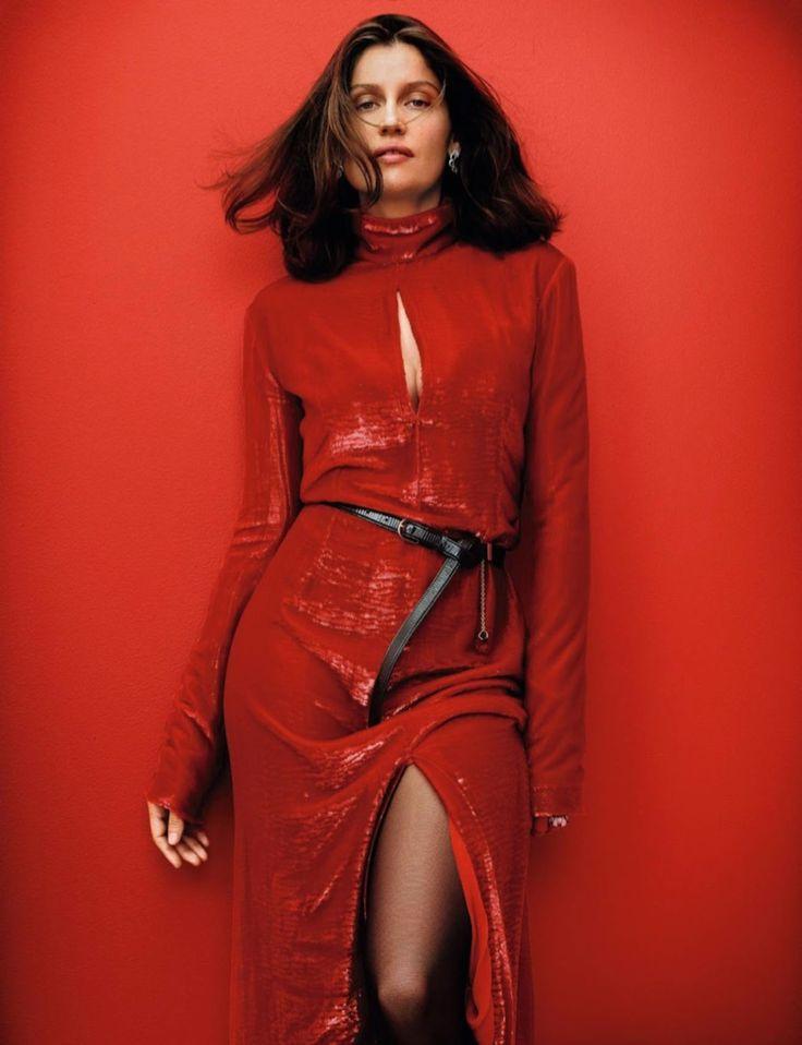 Laetitia Casta wears red Nina Ricci dress