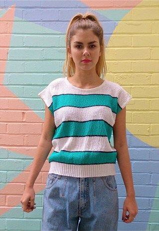 White+knit+sleeveless+top+with+green+stripes