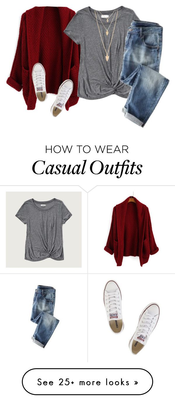 """Cute&Casual"" by fashiongirlprox on Polyvore featuring Abercrombie & Fitch, Forever 21, Converse and Wrap"