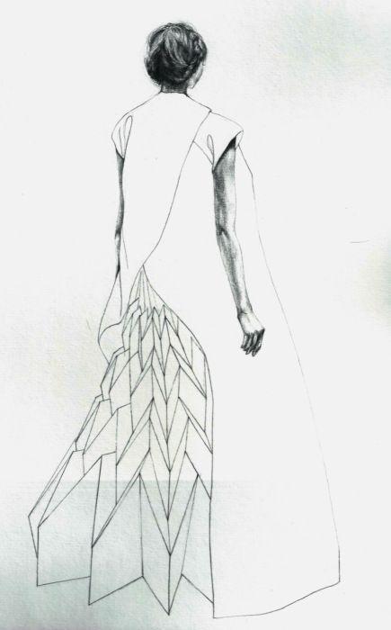 Lovely, balanced work... yuki hagino 1007 Origami Fashion Dress sketch