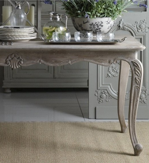French side table with beautiful detail and slate grey color.