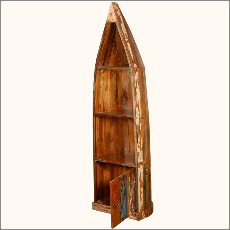 Reclaimed Wood Canoe Open Curio Book Case W Cabinet