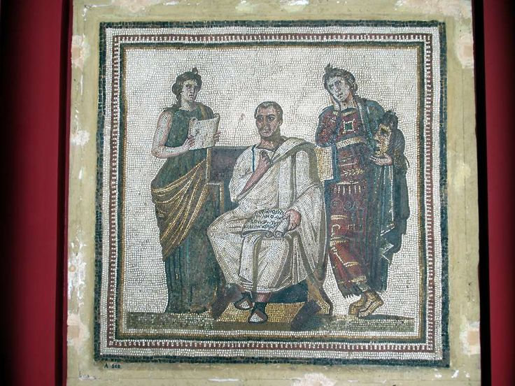 A 3rd century AD mosaic in the Musée National du Bardo in Tunis, Tunisia, depicts the Latin poet Virgil flanked by two muses. This is the only mosaic depiction of Virgil which has come down to us from antiquity.