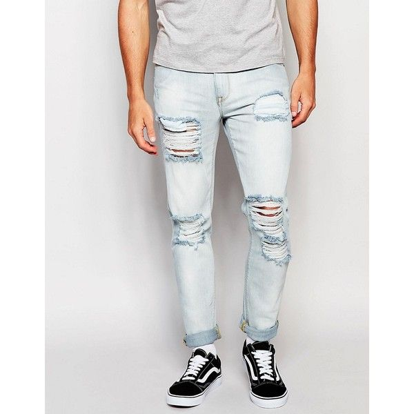 ASOS Skinny Jeans With Extreme Rips In Bleached Wash ($51) ❤ liked on Polyvore featuring men's fashion, men's clothing, men's jeans, blue, mens bleached jeans, mens destroyed jeans, mens super skinny jeans, mens blue skinny jeans and mens distressed jeans