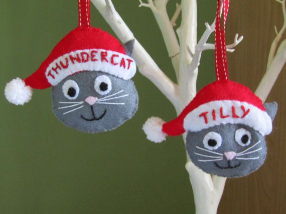 Personalised cat Christmas decoration Santa cat by Itstotallylush