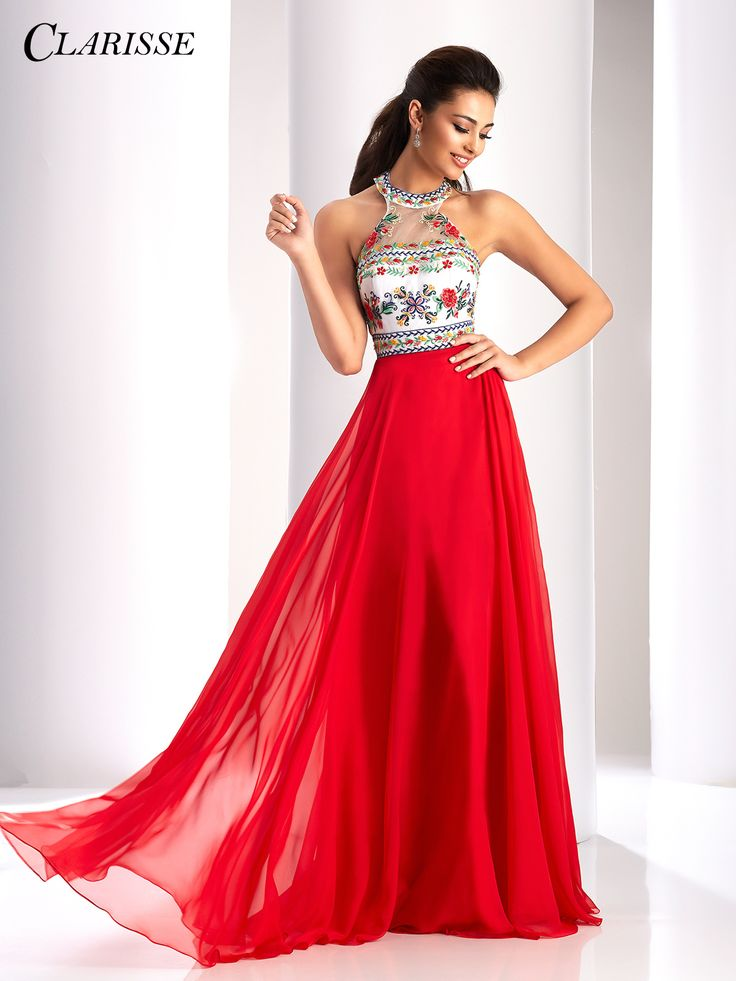 Clarisse Embroidered 2017 Halter Prom Dress style 3052. This pretty boho vintage style has flowers on the bodice and a flowy skirt. | Promgirl.net.