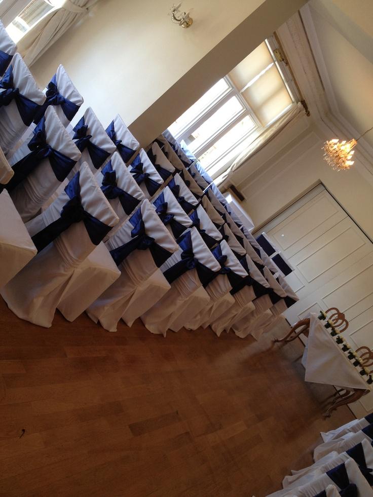 West tower wedding blue satin x