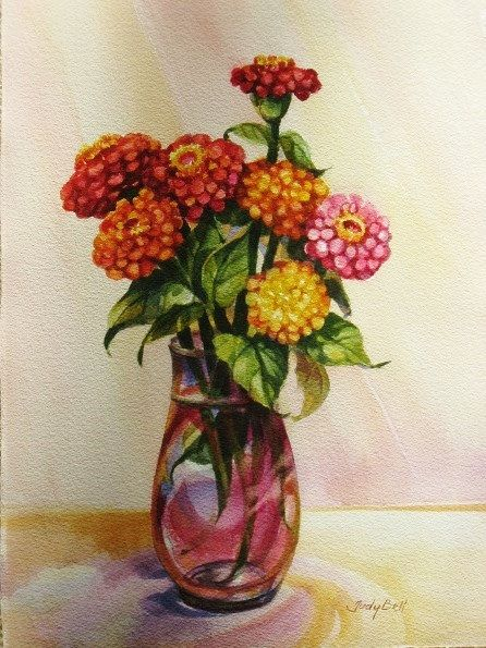 Yellow Orange Zinnia Bouquet Watercolor Original