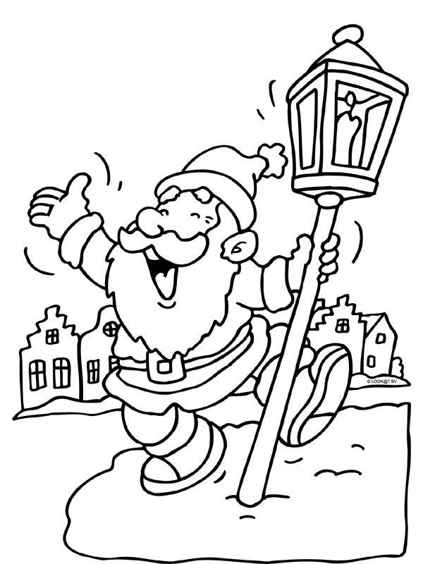 kleurplaat kerstman dansen lantaarn kleurplaten nl