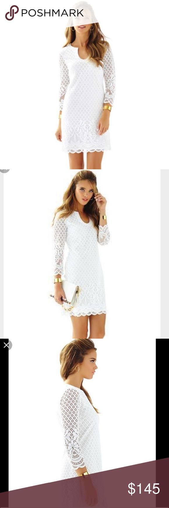NWT Lilly Pulitzer Mara White Dress In perfect condition. Beautiful silhouette white dress perfect for summer or bridal events. I bought this from the Lilly store for my bridal shower and ended up wearing something else. Lilly Pulitzer Dresses