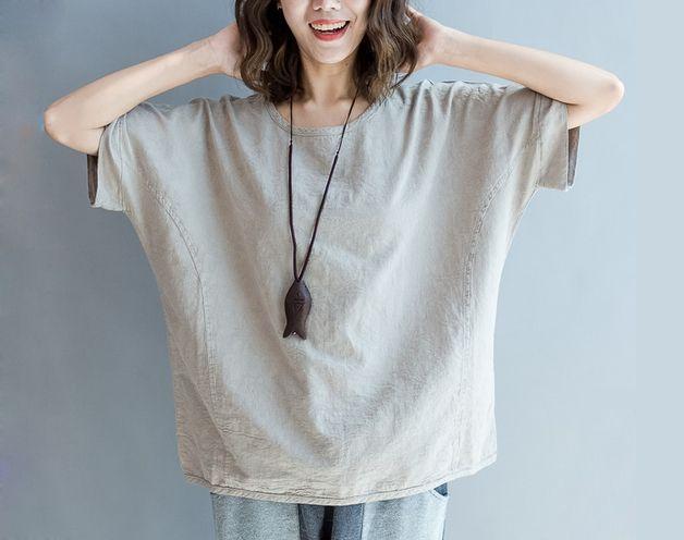 T-shirts met ronde hals - Vrouwen Losse Batwing katoenen shirt 8262 - Een uniek product van deboy2000 op DaWanda