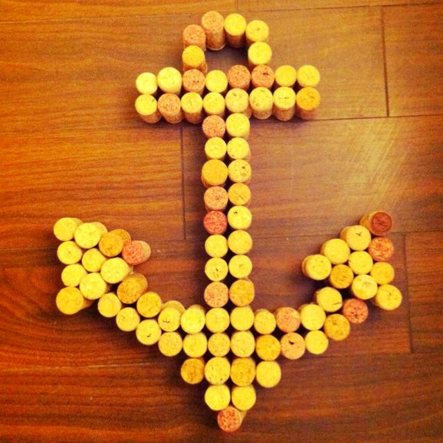 This could be on the cocktail bar or hanging on a door. Anchor made with recycled wine corks.