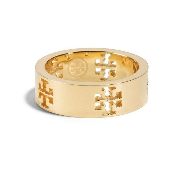 Tory Burch Pierced-T Ring ($88) ❤ liked on Polyvore featuring jewelry, rings, tory burch jewelry, cutout ring, stainless steel rings, stainless steel jewellery and cut out ring