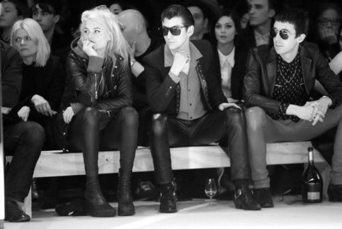 Alison Mosshart, Alex Turner and Miles Kane front row at Saint Laurent Fall/Winter 2014-2015