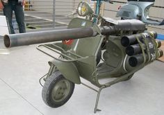 Vespa 150 TAP -was made in France under license from the Vespa Motorcycle Company, making its first appearance in 1956. It was designed for use by the Troupes Aero Portees carrying a lightweight 75cm anti-tank gun. It could be parachuted into a location with a two-man team making it a very versatile piece of equipment. It was also relatively cheap as the components were already in production.
