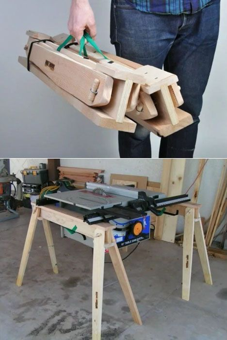 A lightweight, compact, folding sawhorse that I co…