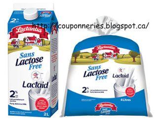 Coupons et Circulaires: 1$ sur le Lait LACTANTIA Sans lactose