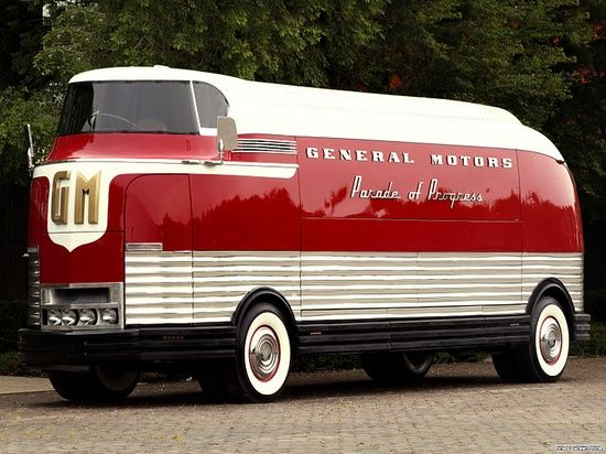 1939 GMC Futurliner -- The GM Futurliners were a group of stylized buses designed in the 1940s by Harley Earl for General Motors. They were used in GM's Parade of Progress, which traveled the United States exhibiting new cars and technology. The Futurliners were used from 1940 to 1941 and again from 1953 to 1956. A total of 12 were built, and 9 were still known to exist as of 2007. The 10th one was located & restored in 2011