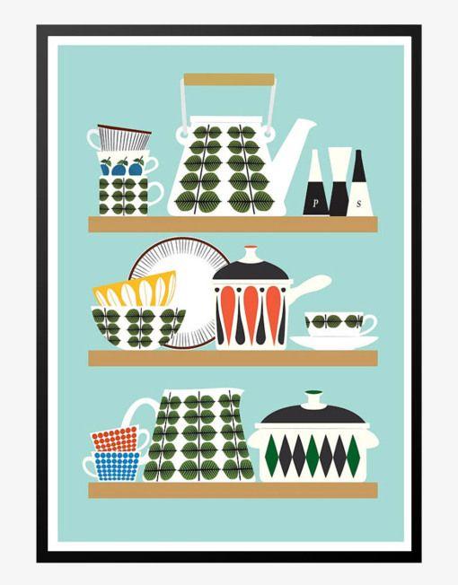stig lindberg design retro plakat