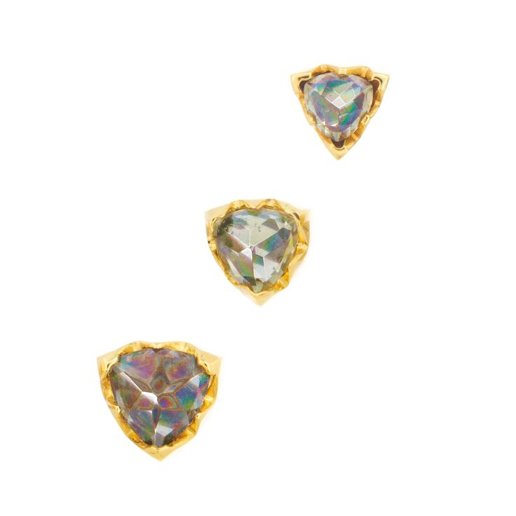 💚Papa Inverted Rainbow Topaz Trillion Earrings – Logan Hollowell Jewelry