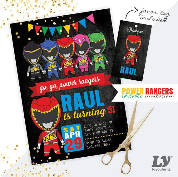 Power Rangers Dino Charge INSTANT DOWNLOAD Editable Invitation