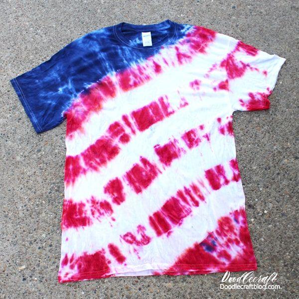 Patriotic Usa Flag Tie Dye Shirt Tutorial In 2020 Tie Dye Shirts Patterns Tie Dye Shirts Blue Tie Dye Shirt