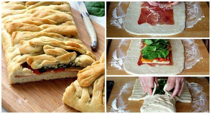 Receita passo a passo: Pizza trançada com pimentões em conserva, queijo e presunto