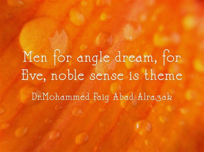 Men for angle dream, for Eve, noble sense is theme