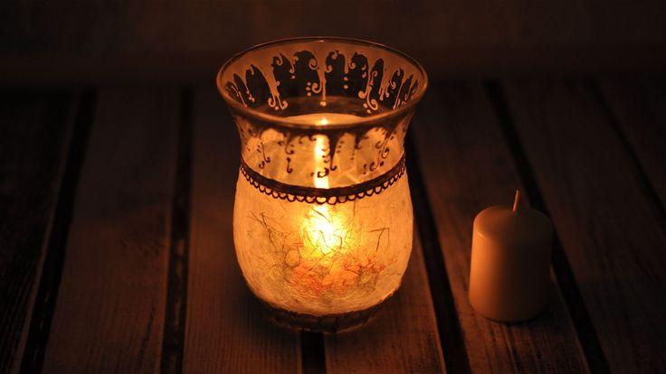 Decoupage krok po kroku - lampion, świecznik