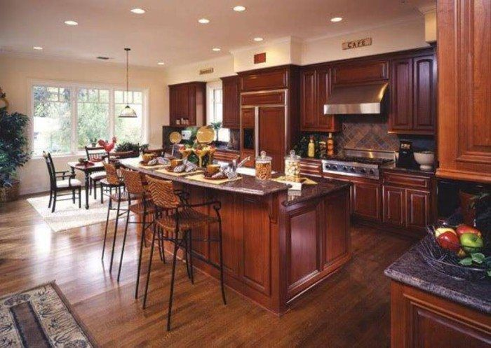 Cherry Wood Kitchen Cabinets And Raised Bar