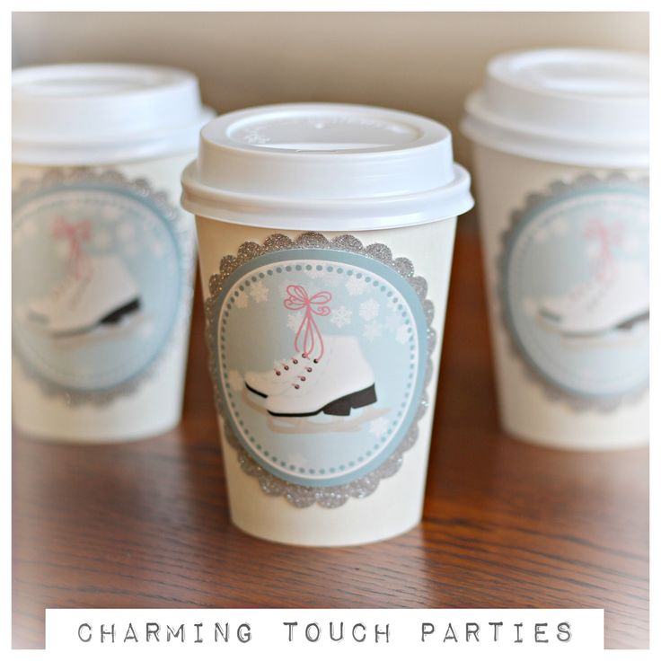 Girl Ice Skating Birthday Party Hot Cocoa / Hot Chocolate Cups. Set of 20, Fully assembled and customizable. Blue, silver and white by CharmingTouchParties on Etsy
