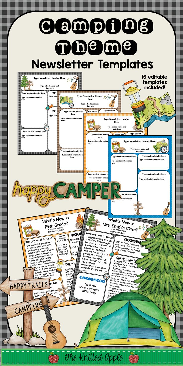 Editable newsletter templates for your camping theme classroom!