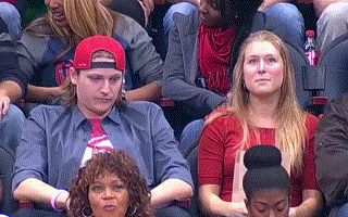 kiss cam boyfriend rejects girlfriend she kisses the other guy gif