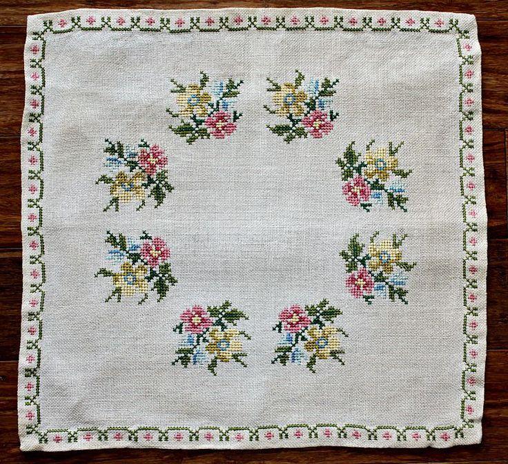 Vintage Hand Embroidery Roses / Ecru Linen by estatesalegems