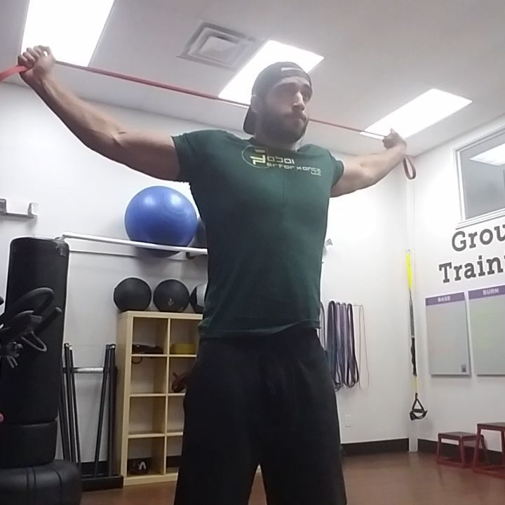 Quick shoulder mobility  Utilizes bands prior to training sessions for some shoulder mobility. There is so much you can do for shoulders but I definitely keep this exercise/movement a staple.  #mobility #shoulders #flexibility #rangeofmotion #ROM #recovery #rehab #health #fitness #fitfam #movement #mechanics #biomechanics #improvement #development #anytimearmy #bands #exercise #training #regiment
