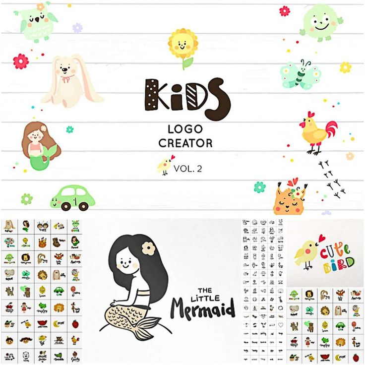 This logo creator for kids contains 130+ cute design elements and you can make unique logo designs! Free for download. File format: .eps, .png for Photoshop or other software. File size: 50 Mb.