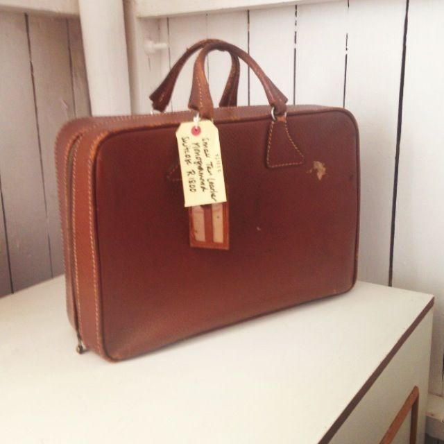 Vintage Small Dark Tan Soft Leather Monogrammed Suitcase with zip - R800