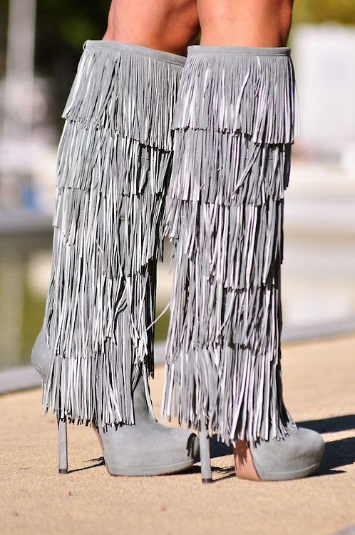 Grey Fringe Heels!