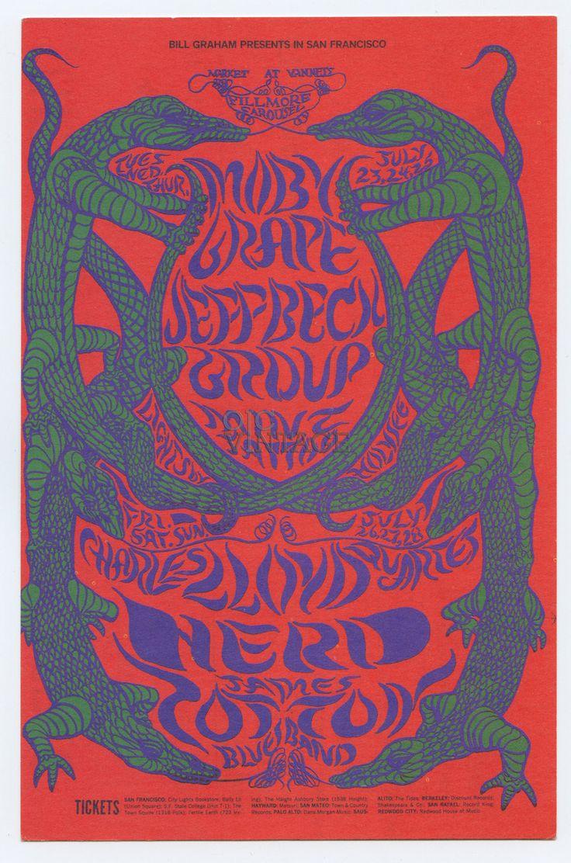 Bill Graham 130 Postcard Ad Back Moby Grape Jeff Beck James Cotton Blues Band 1968 Jul 23