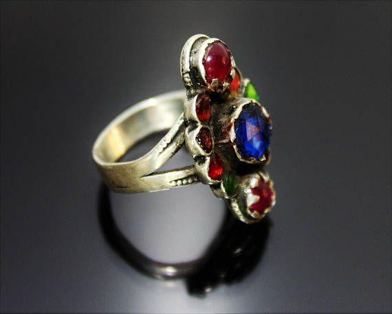 Afghanischer Silber Ring Vintage Ethno Tribal Nomadenschmuck