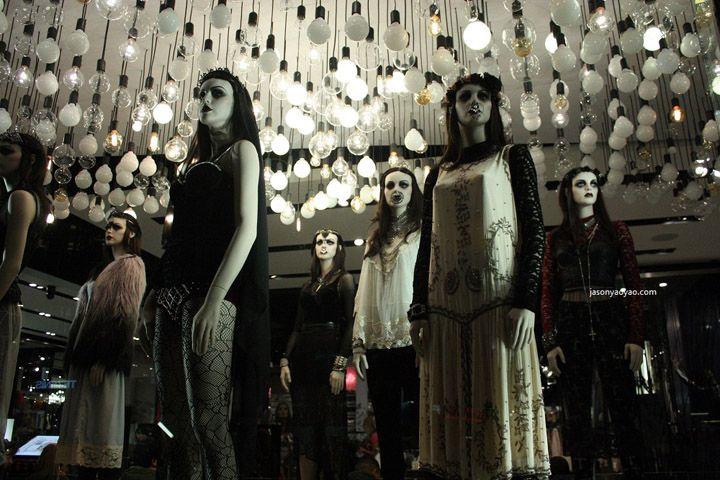 Topshop windows at Oxford street by Blacks VM, London visual merchandising - gothic girls army