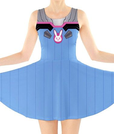 OVERWATCH D.VA Inspired Skater Dress  Preorder by KYOCATclothing