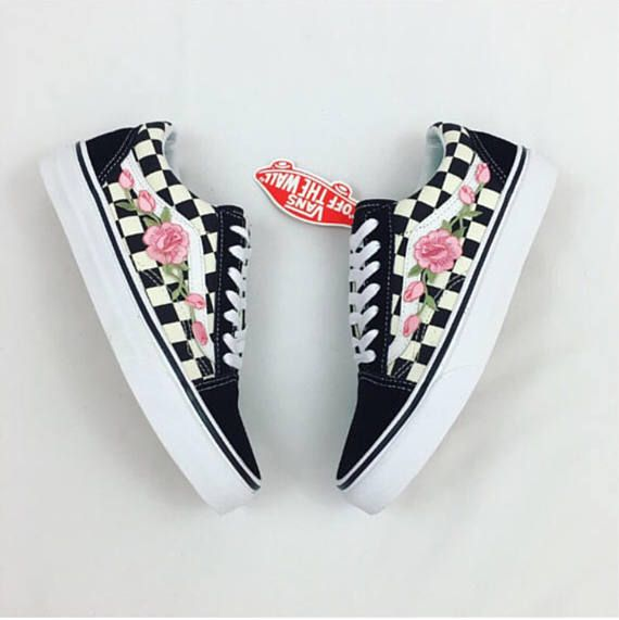 55b2875040 100% Authentic Vans with roses for sale. -Low top Old Skool Checkered vans