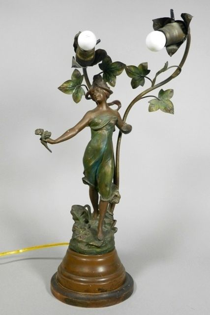 "Early 20th C. Art Nouveau cast metal newel post lamp, in the style of August Moreau, marked ""Jeunesse Par L. Boudier, Paris.""  H 23"".  In good working order, some of the ivy leaves on the back are missing as shown in pictures."