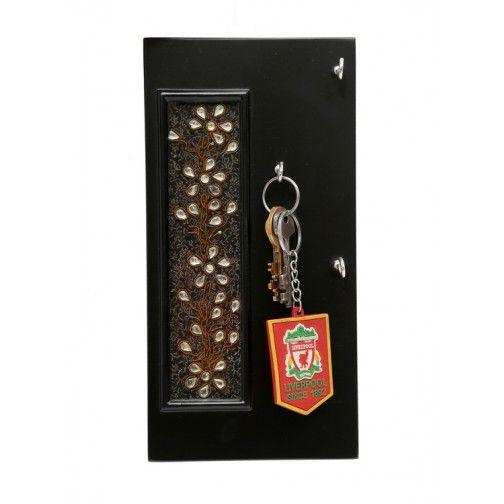 Kundan Work Black Vertical Key Ring Holder 4 Key Pegs