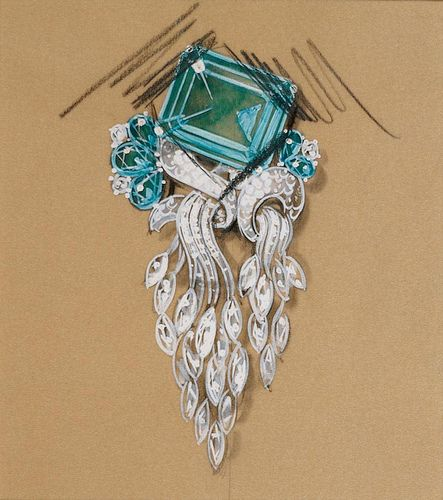 Cartier brooch design [Platinum setting with blue topaz and cascading diamonds] (Pencil, gouache on paper, ~1937)