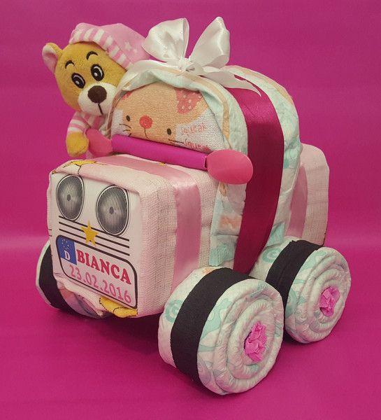 Windeltorten - ♥★ Süßes kleines Windelauto + Bär in Rosa ★♥ - ein Designerstück von Geschenkeshop-Kreative-Pfoetchen bei DaWanda