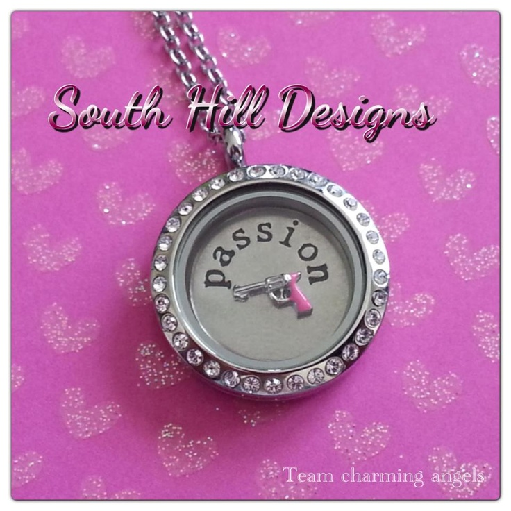 South Hill Designs medium silver locket with swarovski crystals, passion coin, and pink gun. LOVE! PASSION!